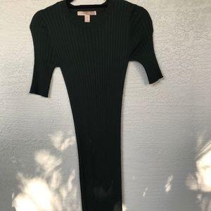 Hunter Green Ribbed Knit Dress